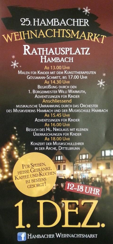 25. Hambacher Weihnachtsmarkt am 1. Adventssonntag